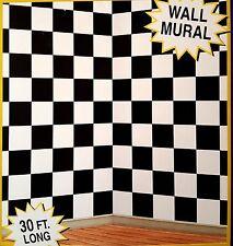 30ft Black White Checkered Nascar Racing Mural 50's Scene Setter Photo Backdrop