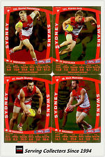 2011 AFL Teamcoach Trading Cards Gold Parallel Team Set Sydney (10)
