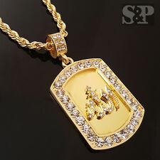 "HIP HOP GOLD ICED OUT ALLAH MUSLIM CZ DOG TAG PENDANT & 24"" ROPE CHAIN NECKLACE"