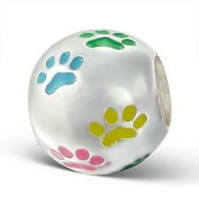 925 Sterling Silver Colourful Dog Paw Footprint Bracelet Charm Bead Gift B233