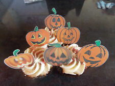 12 PRECUT Edible Halloween Pumpkins wafer/rice paper cake/cupcake toppers