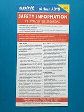 SPIRIT AIRLINES SAFETY CARD--AIRBUS 319-- NEWEST REVISION