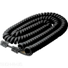 Steren Coiled Curly Telephone Handset Cable 25FT Black for Snom Retail