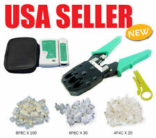 Cable Tester +Crimp Crimper +100 RJ45 CAT5 CAT5e Connector Plug Network Tool WP