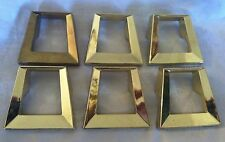 6 Hollywood Regency Brass Mid Century Modern Cut-Out Drawer Pulls Hardware A