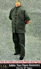 """Hot ZY Toys 1/6 Way of Dragon Kung Fu Grey Clothing Suit For 12"""" Figure Toy"""