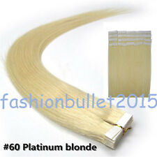 Platinum Blonde Seamless Tape in Skin Weft Remy Real Human Hair Extensions16Inch