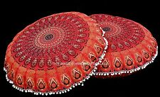 2 PC Round Poof Foot Stool Floor Pillow Pouf Ottoman Indian Mandala Cover Ethnic