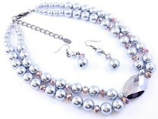 TWO STRAND GREY FAUX PEARL GLASS FACETED BEAD NECKLACE EARRING