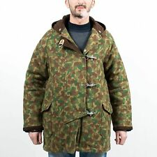 MONITALY HOODED FIREMAN COAT GREEN BROWN CAMO RARE HAND STITCHED IN USA SIZE M