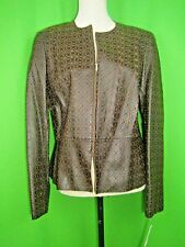 Jones NY Collection Brown Perforated Leather Zip Front Crew Neck Jacket L