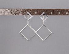 silver dangle ear jacket front back earrings square geometric double look stud