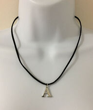 "18"" Black Cord Necklace with Crystal stone Initial Charm, Silver tone, Letter A"
