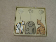 NIB Lot of 3 Animal Photo Placard Holders Zebra Elephant Giraffe African Safari