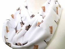 Cat infinity scarf white cat scarf for cat lovers birthday gift for her sister