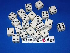 WHITE DICE w/ BLACK PIPS 16mm (200 Pack) OPAQUE BUNCO BUNKO PARTY DICE GAMES DIE