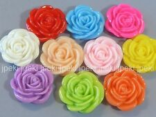 20 Rose Resin Flowers 22mm 10 Colors Cabochon F2
