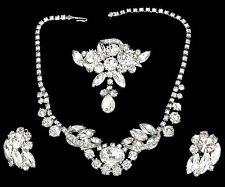 Alice Caviness 3pc Crystal Rhinestone Statement Necklace Earring & Dangle Brooch
