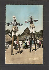REAL-PHOTO POSTCARD:  NATIVE AFRICAN STILT WALKERS - FRENCH EQUATORIAL AFRICA