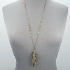 Antique Gold Chain Bohemian Style Simple Long Metal Feather Pendant Necklace