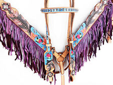 PURPLE WESTERN LEATHER BLING FRINGE BRIDLE HEADSTALL BREASTCOLLAR HORSE TACK SET