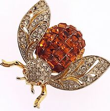 Vintage Unsigned Rhinestone Fly Bee Insect Humpback Brooch Pin Amazing Detail