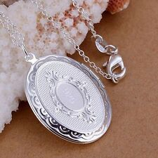 "925 Sterling Silver Oval Round Photo Locket Pendant  Necklace 18"" X-Mas Gift"