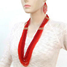 RED SEED BEADS BEADED LAYERED NACKLACE EARRINGS SET WHOLESALE LOT 6 SET