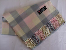 100% Cashmere Winter Scarf Scarve Scotland Warm Checkered Gray Pink Wrap Shawl