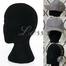 New Black Foam Mannequin Head Female Dummy Wig Hat Cap Shop Display Stand チ