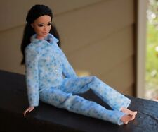 Clothes for Barbie Doll. Light Blue Flannel Pajamas for Dolls.