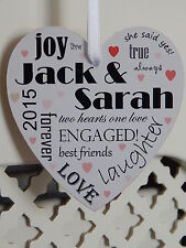 Engagement Typography Love Heart Plaque Personalised Engaged Couple Gift Sign