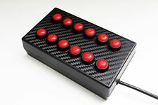 BBJ SimRacing PC USB 12 Function Button Switch Box Red/Carbon