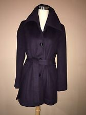 Calvin Klein Dark Purple Wool Blend Lined Winter Coat Jacket Belted Sz.8- M, L
