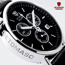 Mens DETOMASO Milano Chronograph Watch S-Steel Swiss ISA Black Leather New