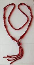 VINTAGE ANTIQUE ART DECO RED GLASS BEAD FLAPPER NECKLACE