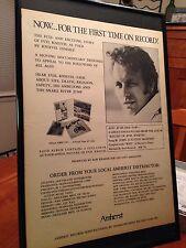 """BIG 11X17 FRAMED ORIGINAL & RARE """"BALLAD OF EVEL KNIEVEL"""" ALBUM LP CD PROMO AD"""