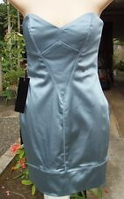 NWT BEBE Blue Vavavoom Strapless Satin Tube Dress S Small NEW
