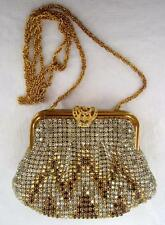 Vintage Johann Becker Rhinestone Evening Bag Amber Topaz Gold Chain Small