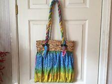 Capelli Straworld Cotton & Straw Large Shoulder Bag Purse Tote Multi-Color