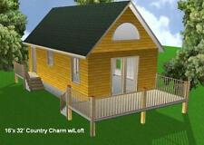 16x32 Cabin w/Loft Plans Package, Blueprints, Material List