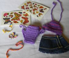 BARBIE DOLL PURPLE CROCHETED SWIMSUIT SKIRT TATTO STICKERS & TIED JEWELRY NEW