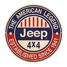 JEEP THE AMERICAN LEGEND   ROUND  TIN SIGN RUSTIC 35cm DIAMETER