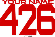 CUSTOM NAMED RACING MX NUMBER PLATE DECALS MOTOCROSS STICKERS ATV BMX GO KART