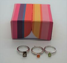 Lot of 3 Sterling Silver Solitaire Evine Gemstone Stackable Rings Sz 6 NEW
