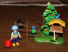 Playmobil personnage enfant et nichoir oiseaux custom ferme 4203 ref ll