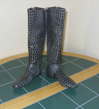 Women's BCBG Max Azria  Animal Croco Leather Boots US 6B/36 Brazil