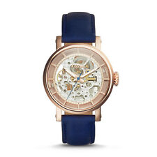 "Fossil ME3086 ""Original Boyfriend"" Mechanical Blue-Leather Skeleton Watch"