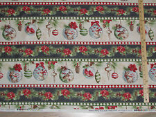 Woodland Holiday Owl Ornament Stripe Christmas Fabric by the 1/2 Yard  #86391