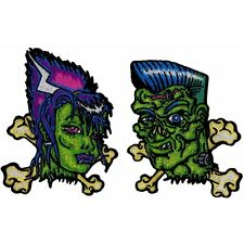 Frankie & Bettie Crossbones Frankenstein Kreepsville Embroidered Iron On Patch